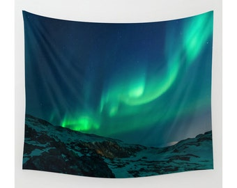 Mountain Wall Tapestry, Mountain Tapestry, Northern Lights Aurora Borealis Sky, Nature Tapestry, Photo Tapestry, Home Decor