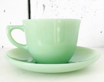 Fire King Jadite Jadeite Ransom Cup and Saucer