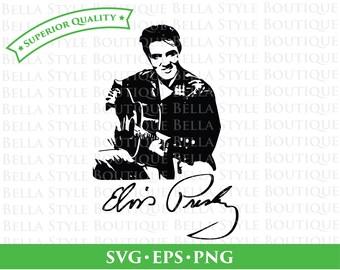 Elvis Presley Guitar and Signature svg png eps cut file