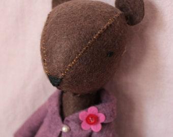Jane Bear - Handmade Felt Bear - Stuffed Bear