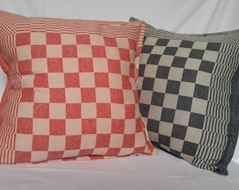 Dishcloth Old fashioned Pillow, Red Pillow, Jeans Pillow, Blue Pillow, Garden Pillow.