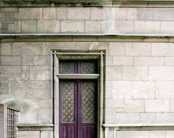Travel Gift, Paris Print, Purple Door, Gray, Purple, Green, Paris Wall Decor, Vertical Paris Door Print, Rustic
