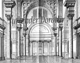 Romanische Architektur In Stein 1887 viktorianischen graviert Illustration Diagramm Rahmen schwarz & weiß