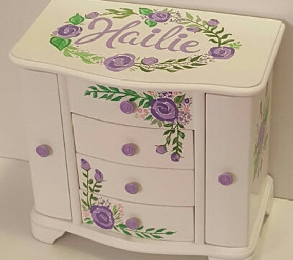 Large jewelry box lavender roses bohemian roses jewelry box