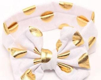 White and Gold Baby Girl Headband, Headband, Bow Head band, Turban Headband, Baby Bows, Toddler Headband, Girl Headband, Bow