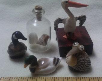 6 MINIATURE BIRDS & SHELLS, Vintage