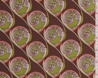 Rust Brown Circular Print Satin Charmeuse, Fabric By The Yard