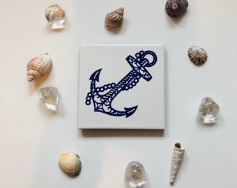 Ceramic Coaster w/ Anchor Design