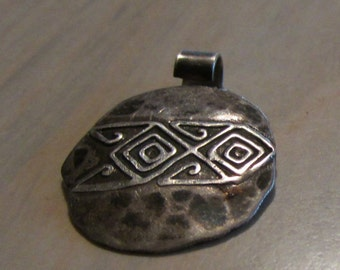 Sterling Silver Pendant with Geometric Design