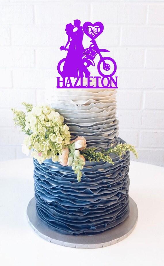 Last Name Dirt Bike Couple Wedding Cake Topper Dirt Bike Cake