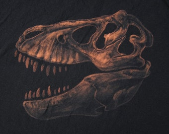 Tyrannosaurus Skull T-Shirt - Dinosaur Fossil Clothing for Adults - Hand Painted Natural History Design - T-Rex Skeleton