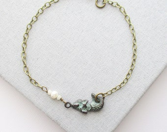mermaid anklet bracelet owlsnroses jewelry ankle freshwater pearl, mermaid ankle bracelet, mermaid anklet
