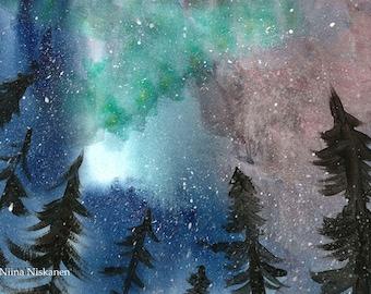 Northern Lights Printable Watercolor Painting Aurora Borealis Printable Watercolor Art Poster Digital Print By Niina Niskanen