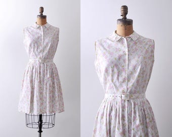 1950's white cotton dress. small. shirtwaist. 50's pleated dress. m. Pink purple floral print.