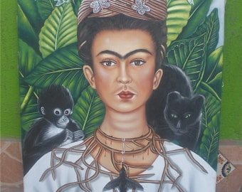 Mexican artist Frida Kahlo portrait canvas oil painting handpainted signed art