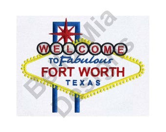 Fort Worth, Texas - Machine Embroidery Design, Fort Worth, Texas