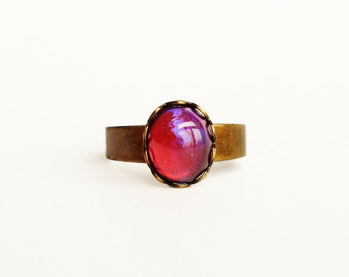 Small Dragons Breath Ring Small Red Glass Ring Vintage Mexican Opal Jewelry Adjustable Brass Ring Iridescent Red Glass Ring Brass Ring