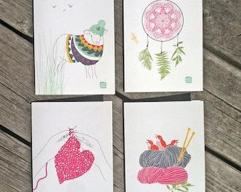 Carococo /cartes 5x7 /Ens.4 / Ptite Laine /par Carol-Anne Pedneault