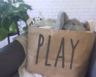 kids toy storage basket/ children's toy bin/ nursery storage/ baby shower gift bag/ toy basket/ toy tote/play