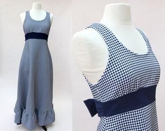 Vintage 70s Maxi Dress / Navy Blue White Dotted Maxi Ruffle Dress