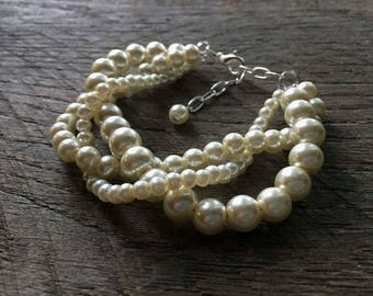 Ivory Pearl Wedding Bracelet, Braided Pearl Bracelet, Pearl Bridal Bracelet, Multi Strand Statement Bracelet on Silver or Gold Chain