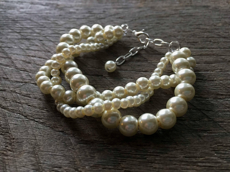 Elfenbein-Perlen-Armband geflochten Perle Perle Braut