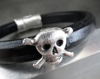 Mens Black Leather Bracelet with Distressed Silver Skull and Cross Bones - Unisex Badass Skull Leather Bracelet, Gift for Him Man Boyfriend