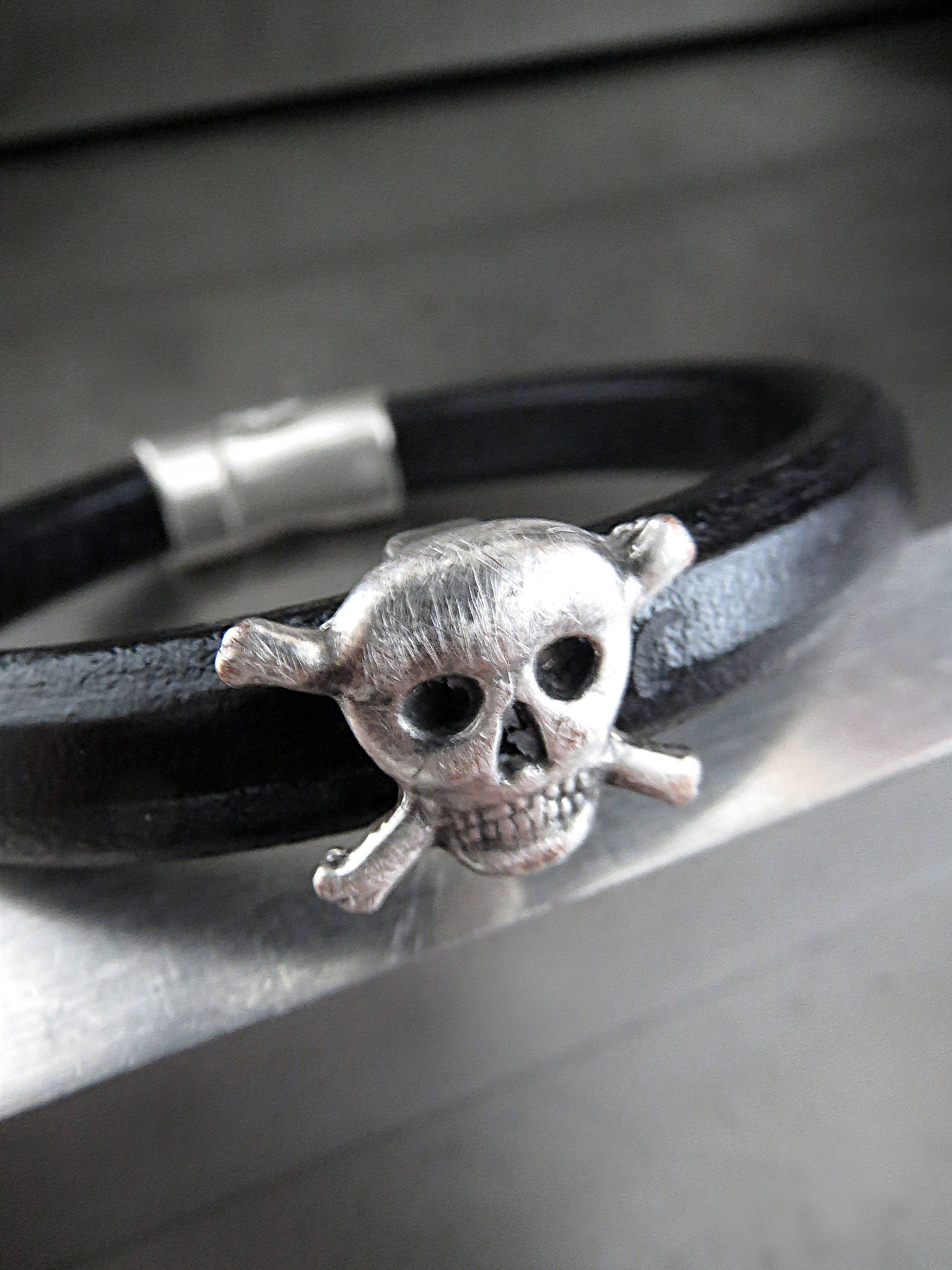 Mens Black Leather Bracelet with Distressed Silver Skull and