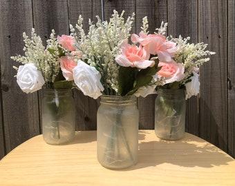 Mason Jar Wedding Reception Table Centerpieces with Fairy Lights