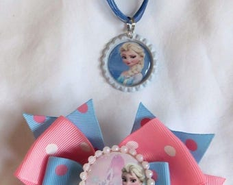 "Disney Frozen Elsa Layered Pink & Blue 4.5"" Hair Bow with and Pearls includes a 18"" ribbon Necklace"