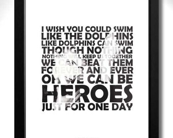DAVID BOWIE - Heroes Limited Edition A4 Art Print with Lyrics