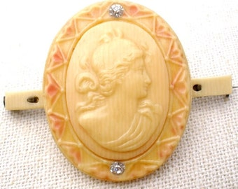 Cameo Brooch, Celluloid Pin, Celluloid Sash Ornament, Victorian Period, Rhinestones, Victorian Jewelry, Antique Cameos, Fashion Jewellery