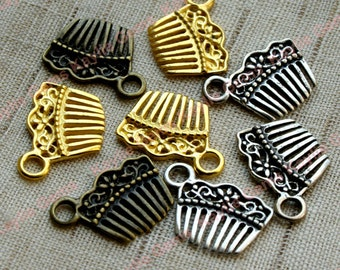 Ship from USA - Comb Charms Antique Style, Fun - Antique Brass, Antique Silver, Gold Plated -10pcs