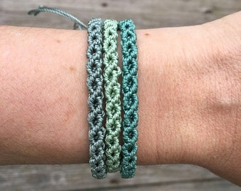 SALE Micro-Macrame Adjustable Bracelet Stack - Pastel Greens