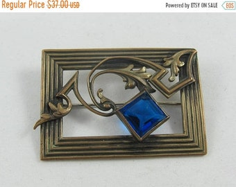 15% OFF Uncleaned Art Nouveau Brass Blue Glass Sash Pin - C Clasp