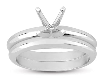 Classic Solitaire Ring Setting with Matching Band in 18k White Gold (2mm), White Gold Ring, Solitaire Ring Setting, Engagement Ring Setting