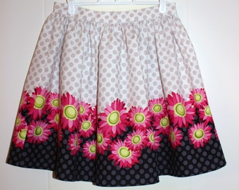 SALE - Juniors Size 28 Inch Waist Cotton Floral Gathered Skirt
