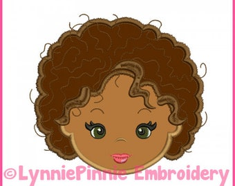Natural Curly Hair Cutie Girl Applique  4x4 5x7 6x10 7x11 Machine Embroidery Design