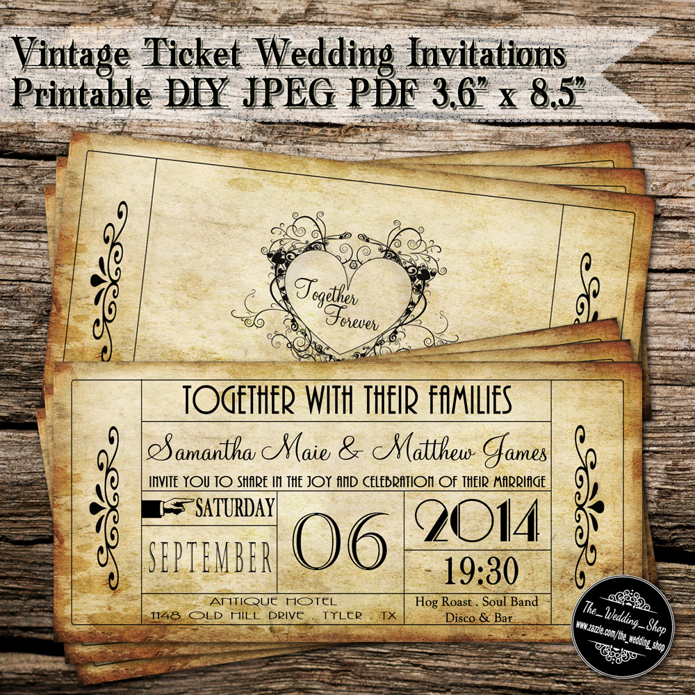 Vintage Ticket Wedding Invitations Printable DIY JPEG PDF