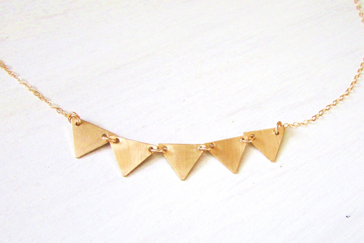 Gold Triangle Necklace Banner Necklace Personalized Jewelry