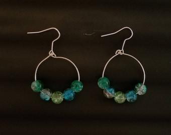 Genuine Glass Beaded Hoop Earrings