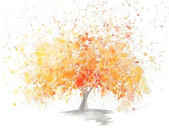 Fine Art Print of my Abstract Watercolour Tree Painting in Orange - available in sizes 6x4, 8x6, 10x7, 12x9, 16x12, 20x15. Signed Print