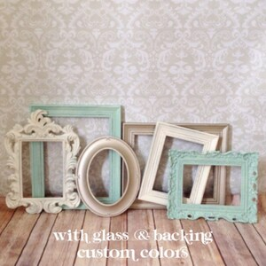 Mint PICTURE FRAMEs - gold - cream - shabby chic wedding - set of 6 -nursery - Glass & Backing