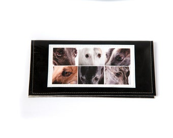 Greyhounds photo checkbook cover - faux leather