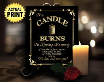 Wedding memorial sign, This candle burns in loving memory, memorial candle wedding sign, wedding signage, memory table, 1920s wedding signs