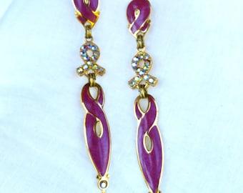 Edgar Berebi Earrings/Fuchsia and Gold Long Dangle Earrings/1980's Dangle Earrings/Enamel Earrings