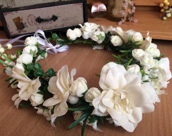 Milk White Flower Crown, Handmade Hair Wreath, Girl Women Hair Crown, Summer Hair Accessory, Floral Wreath, Gift For Her, Wedding Crown