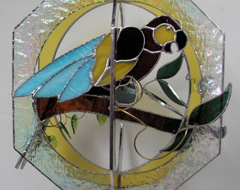 Macaw Bird in Stained Glass Suncatcher Whirl