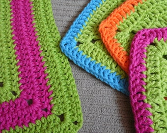 Washcloths Bright Island Kitchen Gift Set,3 Square Washcloths, Lime with Brights, Bright Towels, Caribbean Kitchen