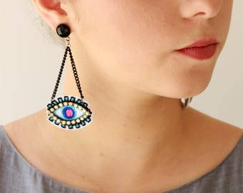 Eye Ohrringe, Blue Evil Eye Ohrringe, trendigen Schmuck leicht, Aussage Ohrringe für ihren Naama Brosh versandkostenfrei